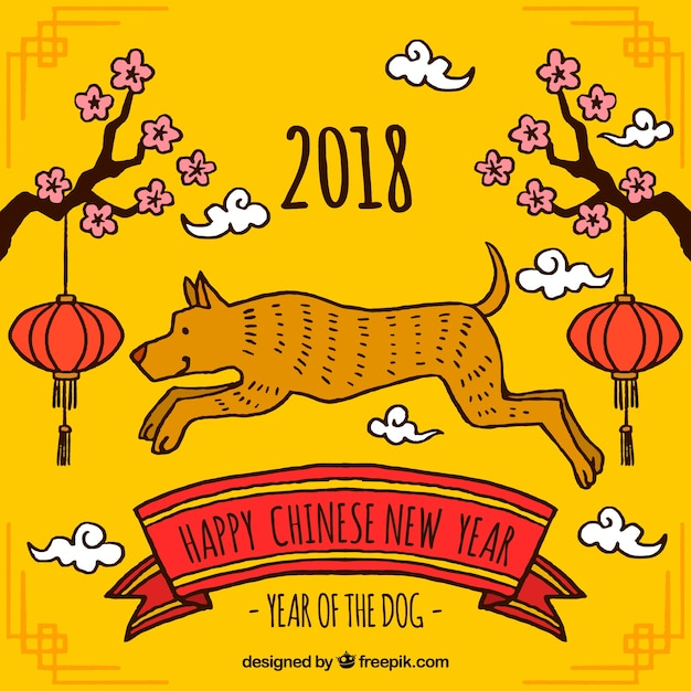 yellow chinese new year background free vector