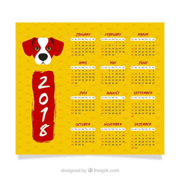 Yellow chinese new year calendar