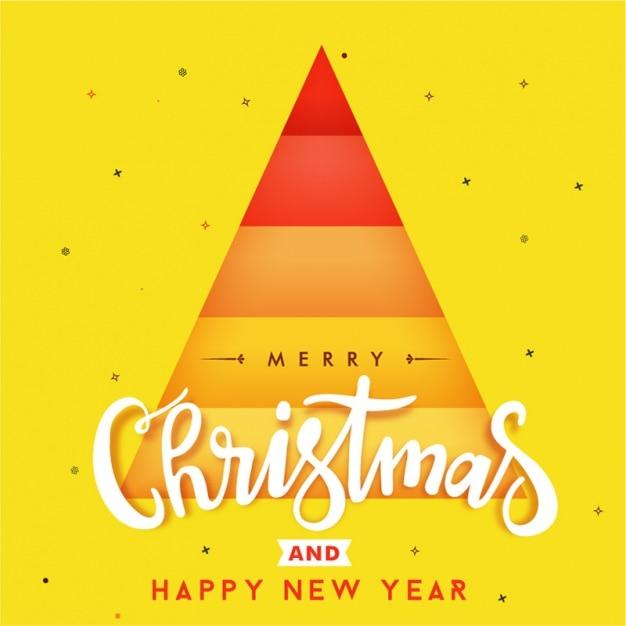 Yellow christmas background with geometric tree Premium Vector