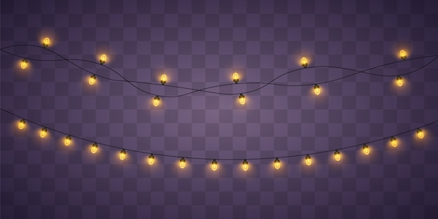 Yellow christmas lights. xmas glowing garland. Premium Vector