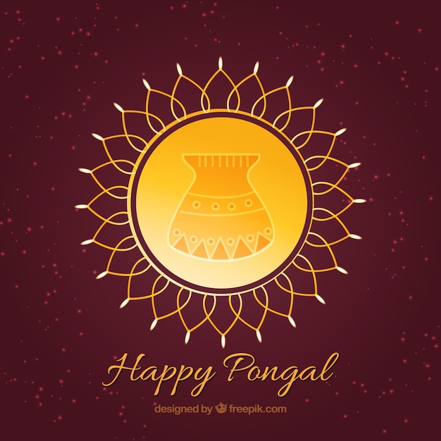 Yellow circle of happy pongal Free Vector