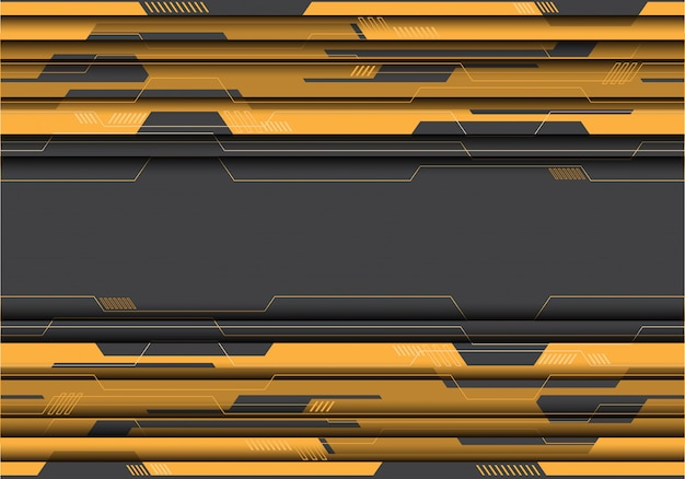 Yellow circuit on grey futuristic background. Premium Vector