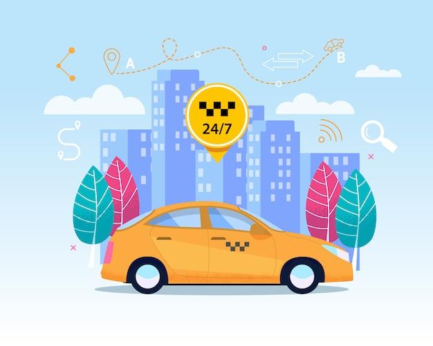 Yellow city cab transfer service. Premium Vector
