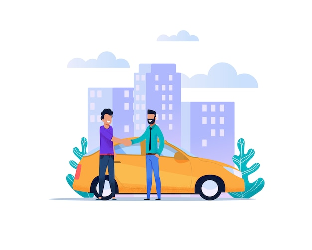 Yellow city taxi catching service. modern flat Premium Vector