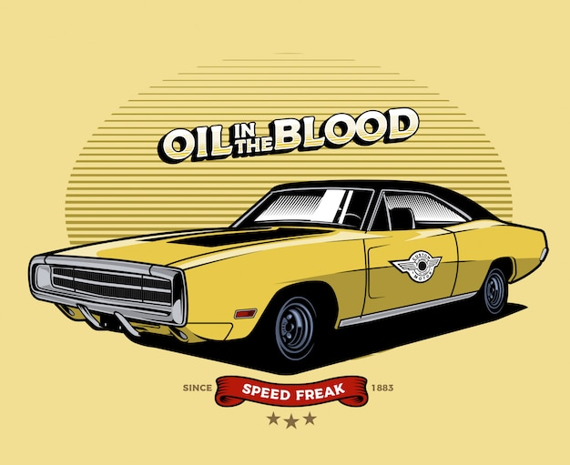 Yellow classic car Premium Vector