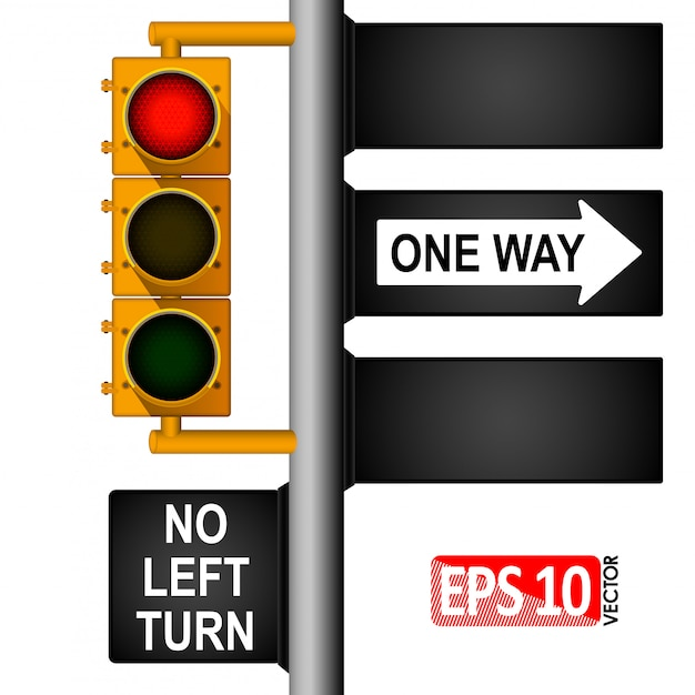 Yellow classic traffic light on a pole in the usa. road signs. regulation of traffic. Premium Vector