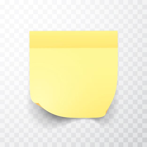 Лист бумаги для заметок желтого цвета с загнутым уголком и тенью Premium векторы
