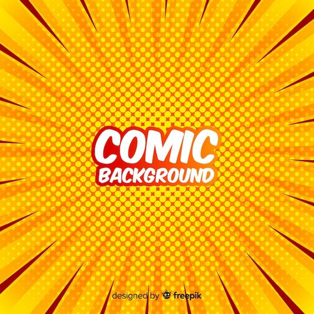 Yellow comic halftone background Free Vector