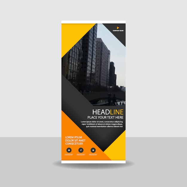 Yellow commercial roll up banner Free Vector