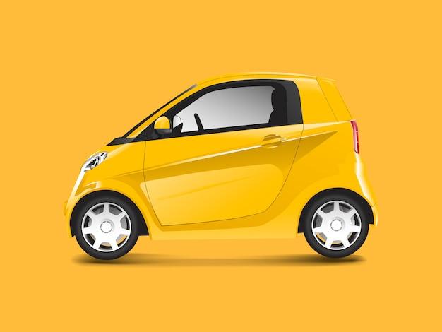 Yellow compact hybrid car vector Free Vector