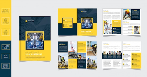 Yellow construction 8 page brochure template Premium Vector