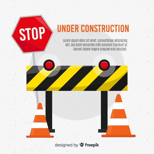 Yellow under construction flat background Free Vector