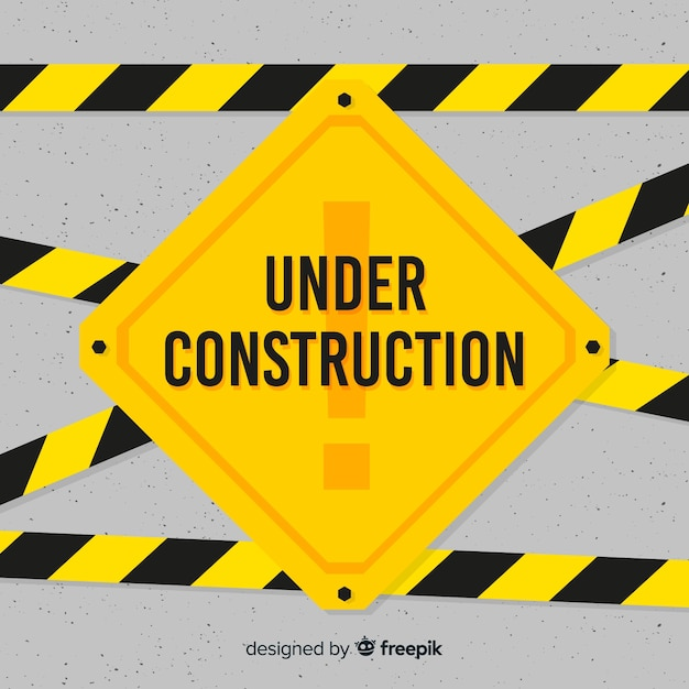 Yellow under construction flat sign Free Vector