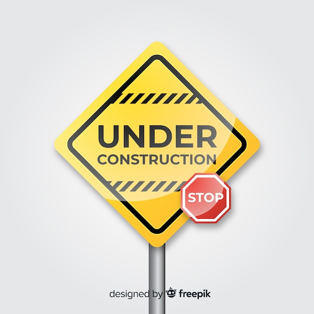 Yellow under construction realistic sign Free Vector