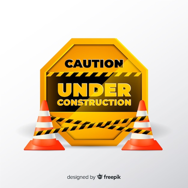 Yellow construction sign realistic style Free Vector