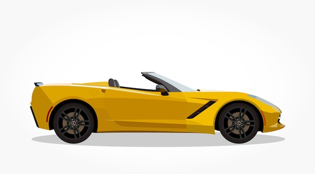 Yellow Convertible Car Cartoon With Side Details And Shadow Effect