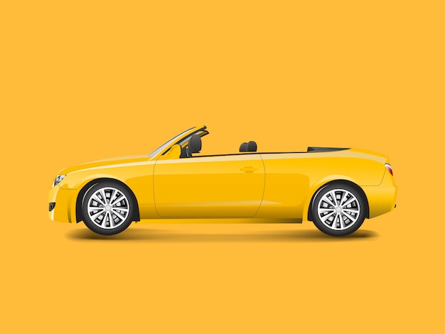 Yellow convertible in a yellow background vector Free Vector