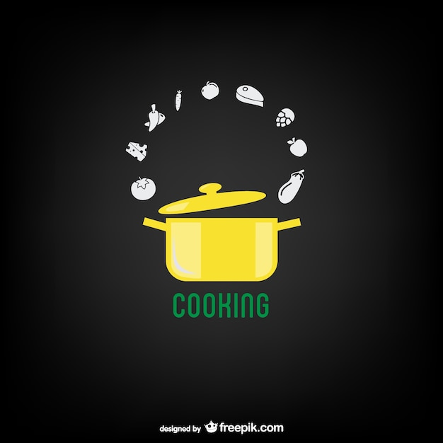 Yellow cooking pot and vegetables Premium Vector