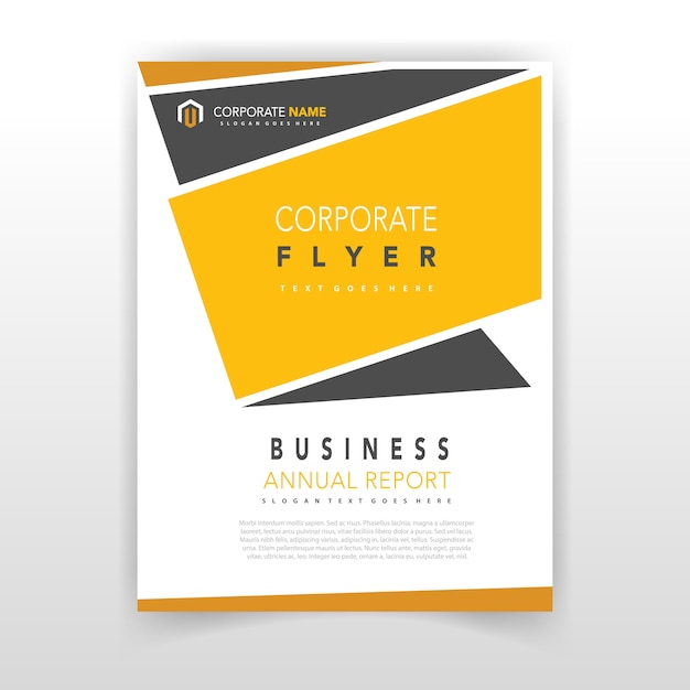 yellow coporate flyer design vector