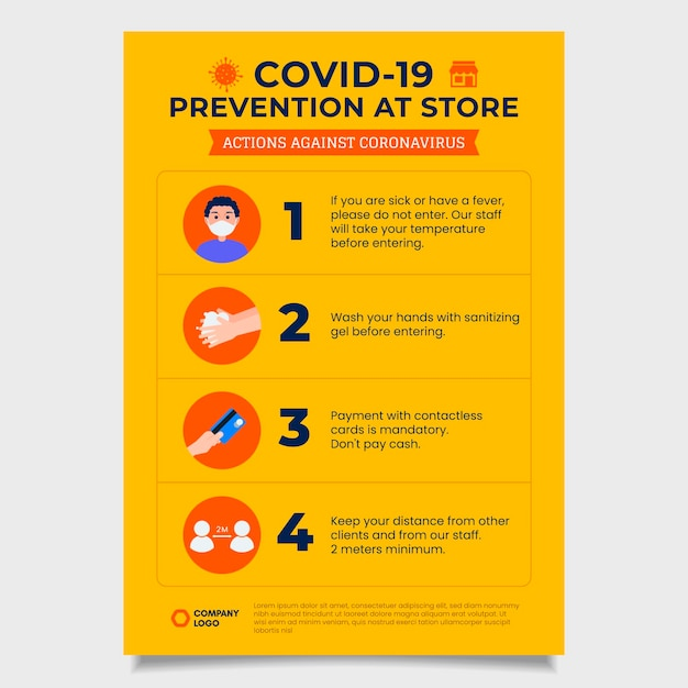 Yellow coronavirus prevention poster Free Vector