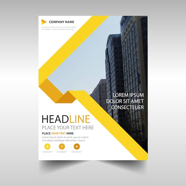 Yellow corporate annual report template Free Vector