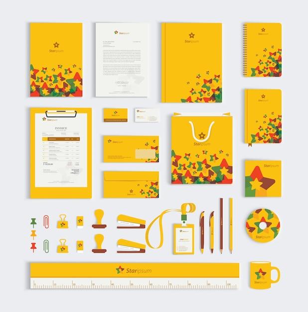 黄色の企業のビジネス文具セット Premiumベクター