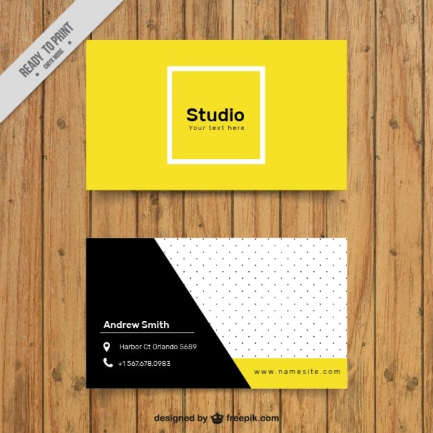 Yellow corporative card in abstract style Free Vector
