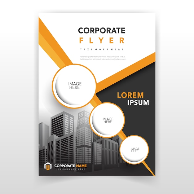 Yellow cover annual report template Free Vector