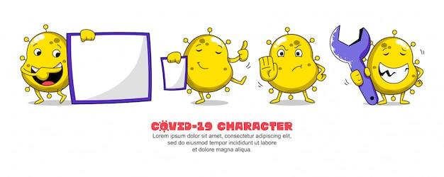 黄色のcovid-19。コロナウイルスの漫画のインスピレーションのデザイン。ボード、プレゼンテーション、ストップ、ワークショップ Premiumベクター