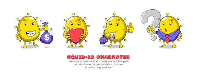 黄色のcovid-19。コロナウイルスの漫画のインスピレーションのデザイン。お金、愛、ビジネスマンおよび質問 Premiumベクター