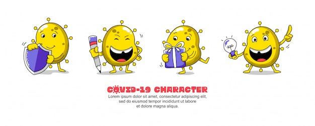 黄色のcovid-19。コロナウイルスの漫画のインスピレーションのデザイン。シールド、ライティング、ギフト、アイデア Premiumベクター