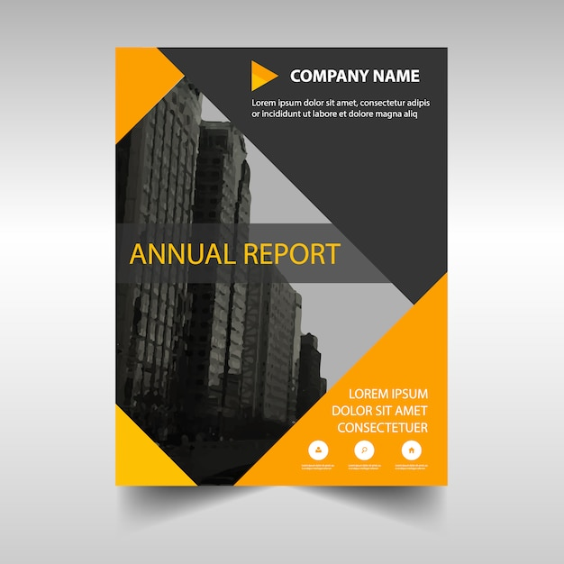 Free Creative Book Cover Template ~ Yellow creative annual report book cover template vector