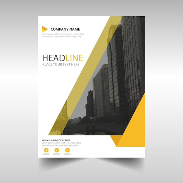 Creative Book Report Covers ~ Yellow creative annual report book cover template vector