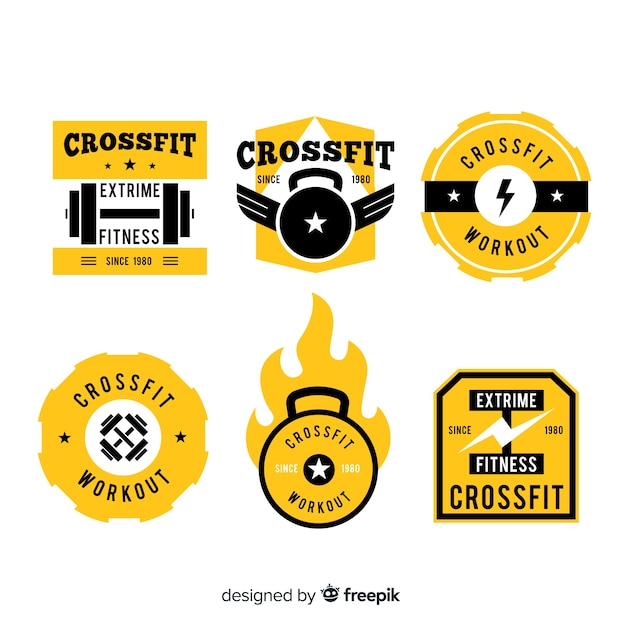 Yellow crossfit logo templates collection Free Vector