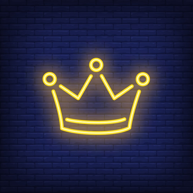 Yellow crown night bright advertisement element. Gambling concept for neon sign Free Vector