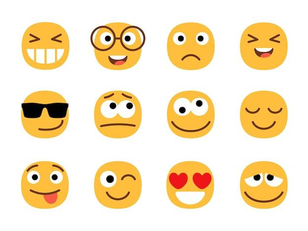 노란색 귀엽고 재미있는 이모티콘 얼굴. 프리미엄 벡터