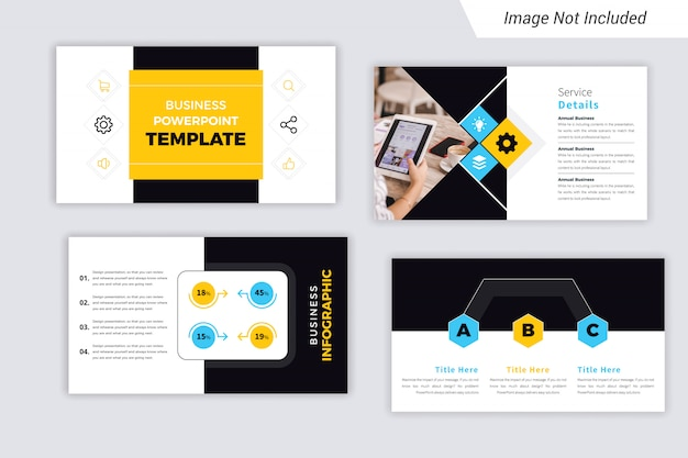 Yellow and cyan color corporate business  presentation slides design Premium Vector