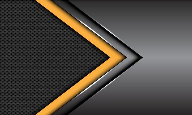 Yellow dark grey metallic arrow direction circle mesh futuristic background. Premium Vector
