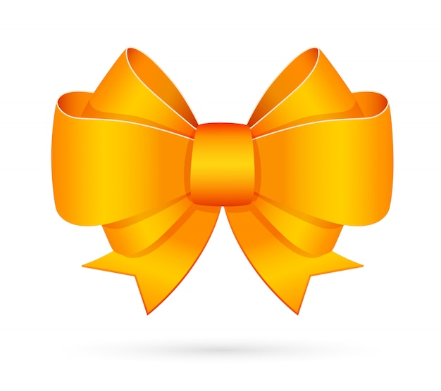 Yellow decorative bow emblem Free Vector