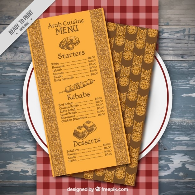 Yellow decorative menu on a dish