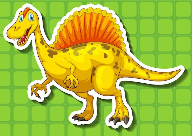 Yellow dinosaur with sharp teeth Free Vector