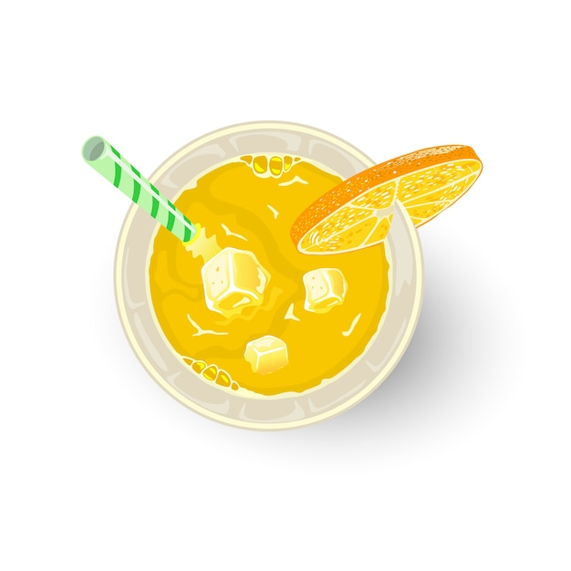 Yellow drink from citrus fruits and other ingredients in glass with straw, slice of orange or lemon. aperitif, alcoholic cocktail paradise, screwdriver, tequila sunrise, mimosa. mocktail. top view. Premium Vector