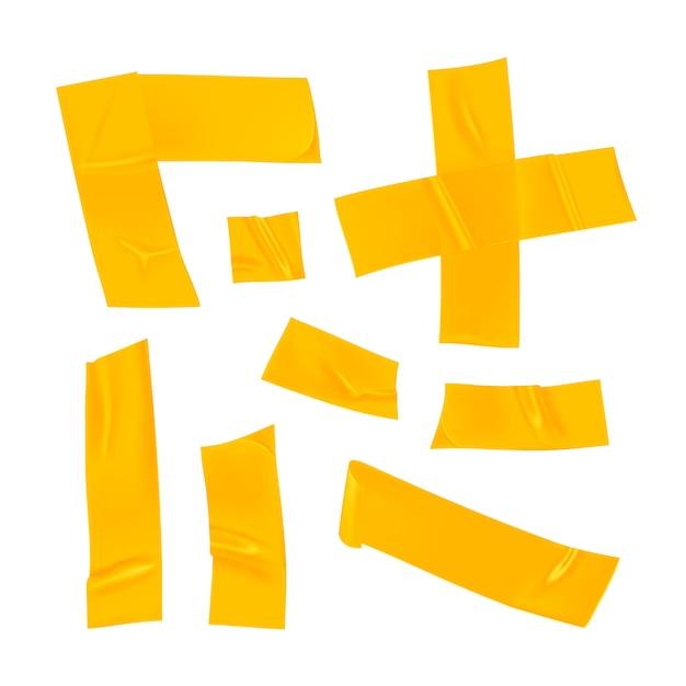 노란색 덕트 테이프 세트. 고립 된 고정을위한 현실적인 노란색 접착 테이프 조각입니다. 접착제 십자가, 모서리 및 종이가 붙어 있습니다. 프리미엄 벡터