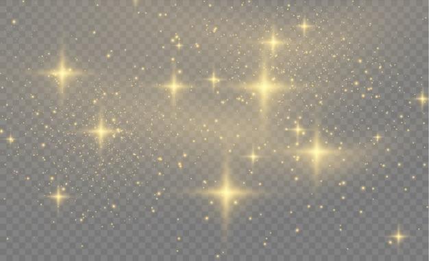황사 황색 스파크와 황금빛 별이 특별한 빛으로 빛납니다. 투명 한 배경에 추상 세련 된 조명 효과입니다. 추상 패턴 프리미엄 벡터
