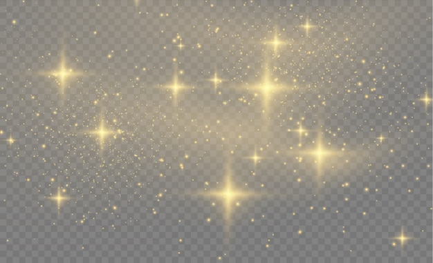 Yellow dust yellow sparks and golden stars shine with special light.sparkling magic dust particles.  abstract stylish light effect on a transparent background.  abstract pattern Premium Vector