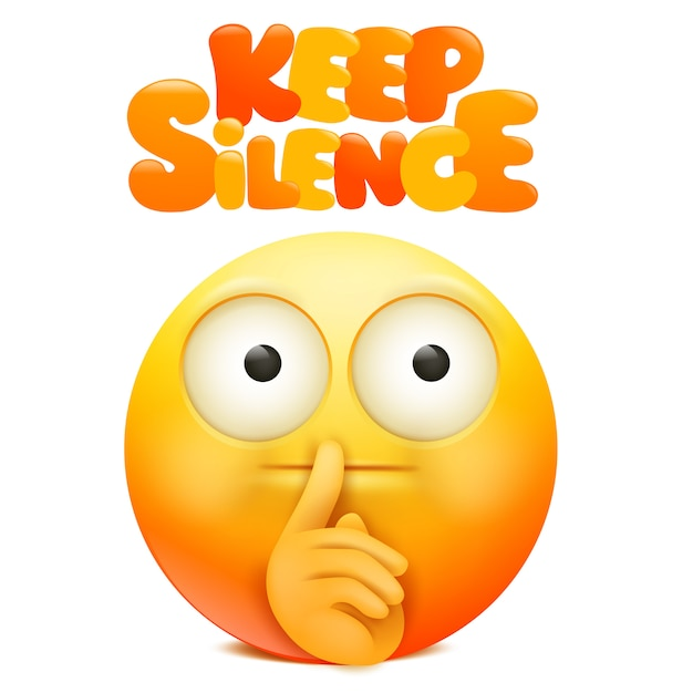 Yellow emoji cartoon character with finger near the mouth. keep silence sign. Premium Vector