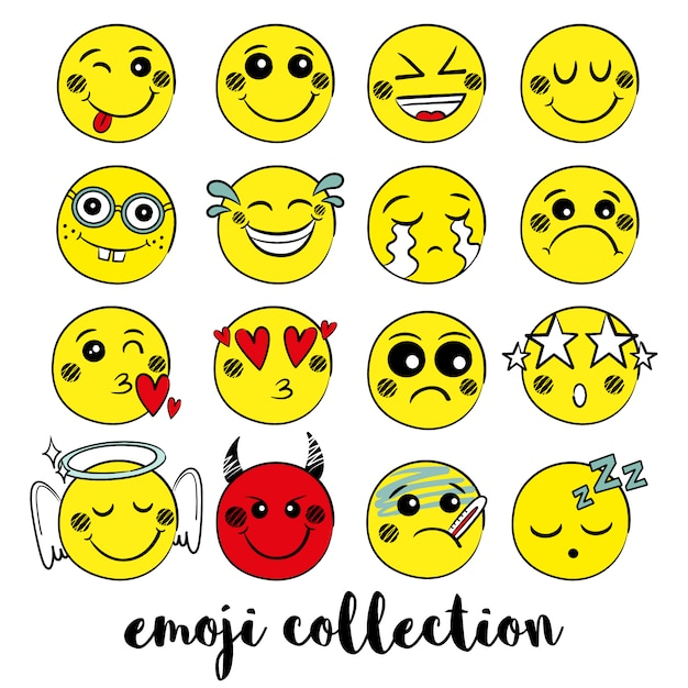 Yellow emoji collection Free Vector