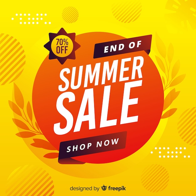 Yellow end of summer sales background Free Vector