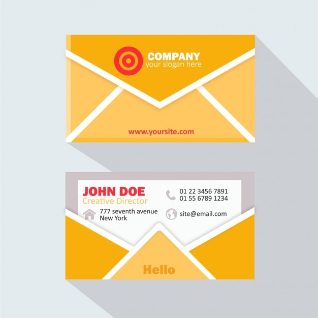 Yellow envelope business card Vector