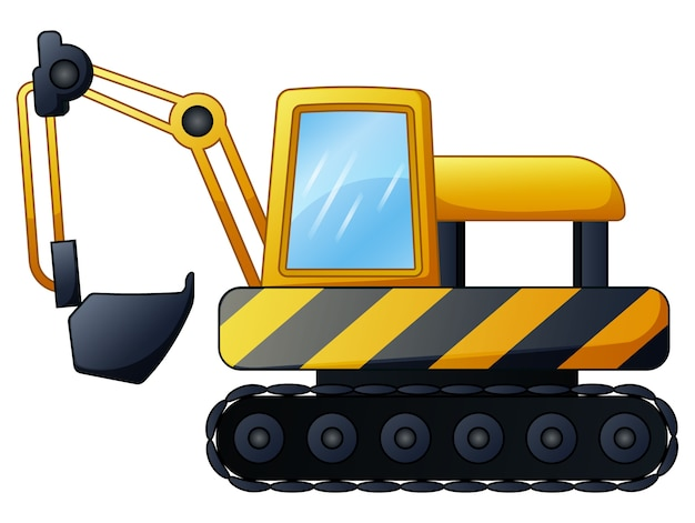 白い背景にある黄色の掘削機 Premiumベクター